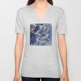 Cobalt Blue Tropical Leaf Pattern Unisex V-Neck