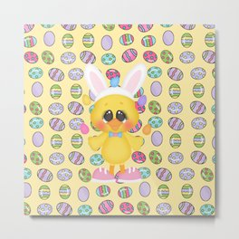 Easter Chick with Bunny Ears Metal Print