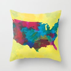 Watercolor U.S.A. Map Throw Pillow