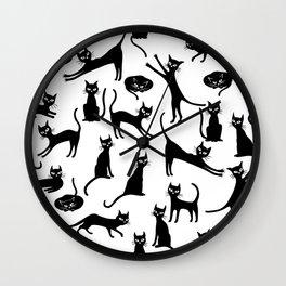Black cats, seamless patten Wall Clock