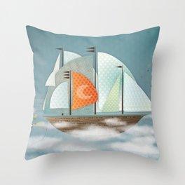Sailing on clouds Throw Pillow