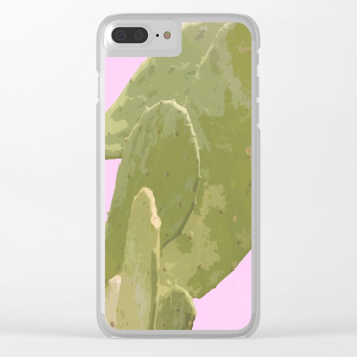 Green cactus on a pink background Clear iPhone Case