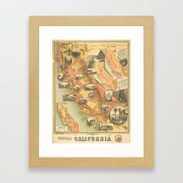 Vintage Map of California Framed Art Print
