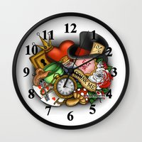 wonderland Wall Clocks featuring Wonderland  by Katie Simpson a.k.a. Redhead-K