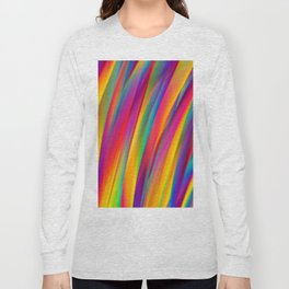 Abstract Colorful Decorative Wavy Pattern Long Sleeve T-shirt
