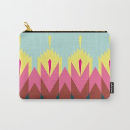 Tribal Feather Pattern Robin Egg Blue Carry-All Pouch