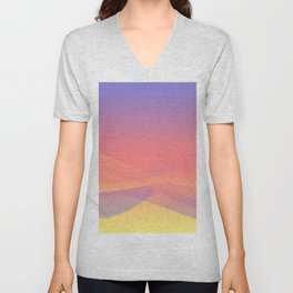 Pastel Gradient Ombre Pink, Purple, Yellow Whimsical Wavy Lines Unisex V-Neck