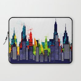 Colorful City Buildings And Skyscrapers In Watercolor, New York Skyline, Wall Art Poster Decor, NYC Laptop Sleeve