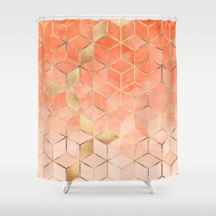 Superior Soft Peach Gradient Cubes Shower Curtain