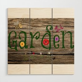 Whimsical Garden Sign Wood Background Wood Wall Art