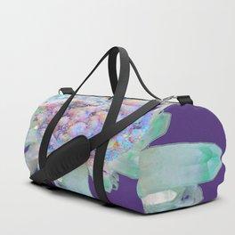 SPARKLING GREEN & PURPLE QUARTZ CRYSTALS PURPLE ART Duffle Bag