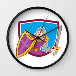 Medieval Knight Shield Sword Cartoon Wall Clock