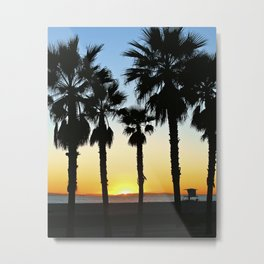 HB Palms & Sunset Metal Print