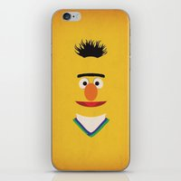 sesame street iPhone & iPod Skins featuring Sesame Street Vintage Nursery Art Bert Retro Style Minimalist Poster Print by The Retro Inc