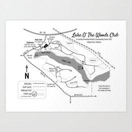 Lake O' The Woods Map O' The Grounds Art Print