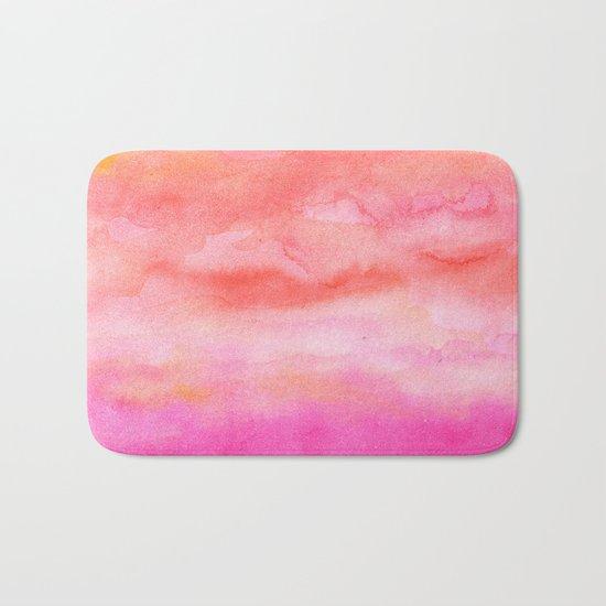 Bright pink orange sunset watercolor hand painted Bath Mat