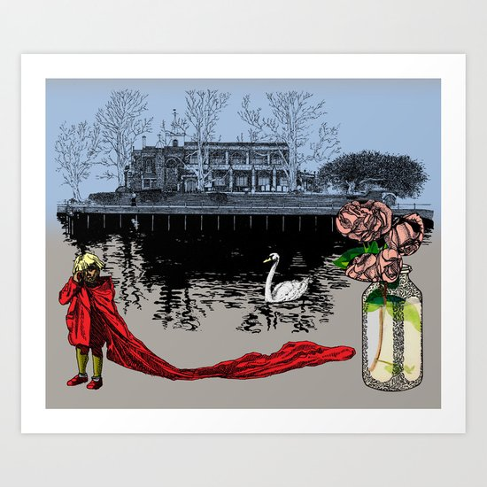 The Boy, The Roses and The Church Swan. Art Print
