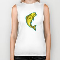 trout Biker Tanks featuring trout fish jumping retro by retrovectors