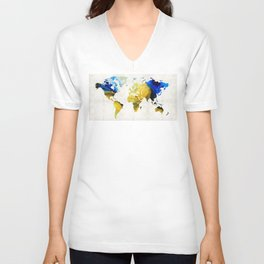World Map 16 - Yellow And Blue Art By Sharon Cummings Unisex V-Neck