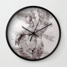 Nude woman pencil drawing Wall Clock