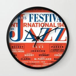 Vintage 1949 Paris International Jazz Festival Poster Wall Clock