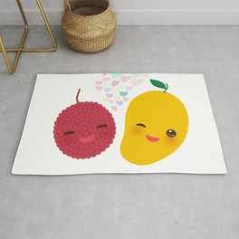I love you Card design with Kawaii lychee and mango with pink cheeks and winking eyes Rug