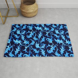 Crayon textured art deco leaves inspired by William Morris' gorgeous textiles. Full & detailed with  Rug