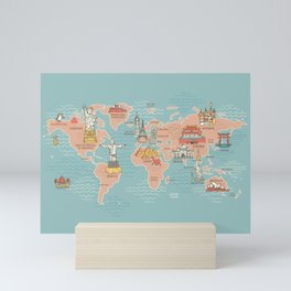 World Map Cartoon Style Mini Art Print
