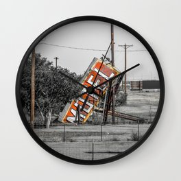 Forgotten Motel Sign Abandoned Adrian Texas Route 66 Midpoint Wall Clock