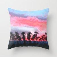 coachella Throw Pillows featuring Coachella Sunset by The Bun