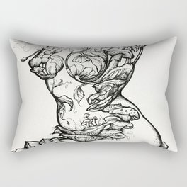 Floral Shroom Torso Pt 2 ink on white Rectangular Pillow