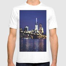 Brooklyn Bridge at Night White MEDIUM Mens Fitted Tee