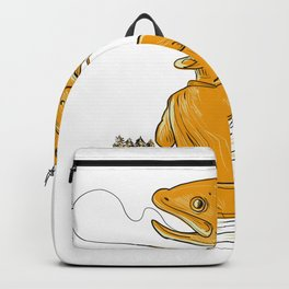 Fly Fisherman Reeling Trout Drawing Backpack