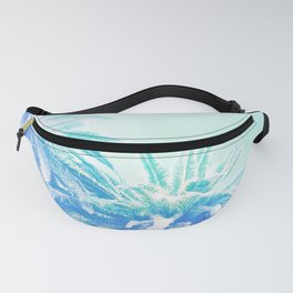 Dreamy and Fresh Palm Blues - Blue and Aqua Fanny Pack