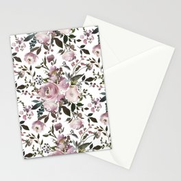 Vintage Soft Pink Blossom on White Stationery Cards