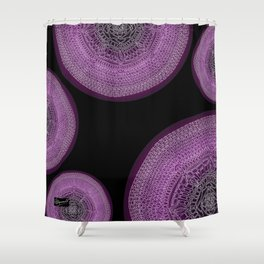 Envisioning on Black Background Shower Curtain