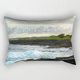 """The journey is the destination"" Hawaii black sand beach photo Rectangular Pillow"