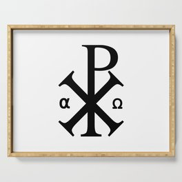 Chi Rho Christian Symbol Serving Tray