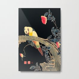 Ito Jakuchu - Parrot on the Branch of a Flowering Rose Bush Metal Print