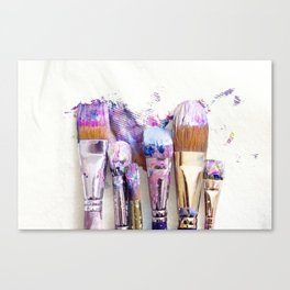 Six Dirty Paintbrushes (Photo) Canvas Print