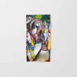 Two Woman and Horses, nude figurative portrait painting Hand & Bath Towel