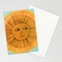 Sun Drawing Gold and Blue Stationery Cards