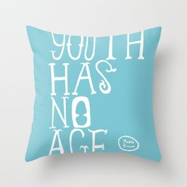 Youth Has No Age (Blue) Throw Pillow