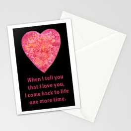 Valentine's Day Love quote - black version Stationery Cards
