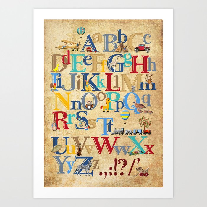 Vintage ABC / nursery wall art Art Print by mariskaart | Society6