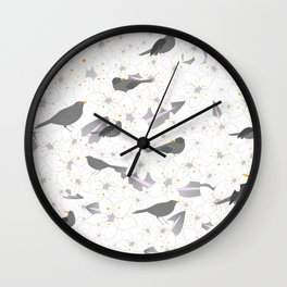 Gracefully blooming white flowers and grey birds Wall Clock