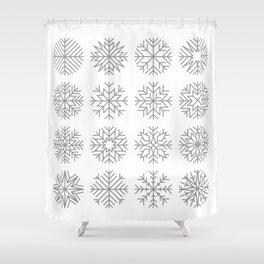 minimalist snow flakes Shower Curtain