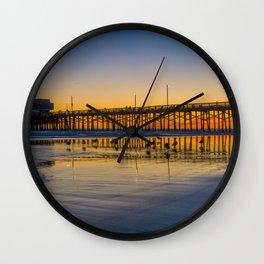 Seagull Sunset at Newport Pier Wall Clock
