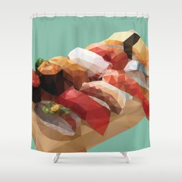 Nigiri Sushi Platter Polygon Art Shower Curtain