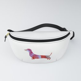 Pink watercolor dachshund Fanny Pack